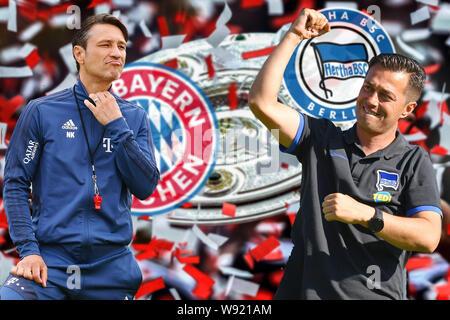 Munich, Deutschland. 14th Aug, 2019. PHOTO MOUNTAIN: Niko KOVAC (coach FC Bayern Munich) meets his compatriot Ante COVIC, coach (Hertha BSC) on 1-matchday. Preview of the Bundesliga opener FC Bayern Munich-Hertha BSC Berlin on 15.08.2019 at the ALLIANZ ARENA in Munich, football 1. Bundesliga, season 2019/2020 | usage worldwide Credit: dpa/Alamy Live News - Stock Photo