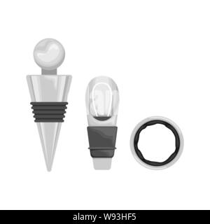 A set of accessories for the use and storage of wine. Elite wines. Flat vector illustration. - Stock Photo