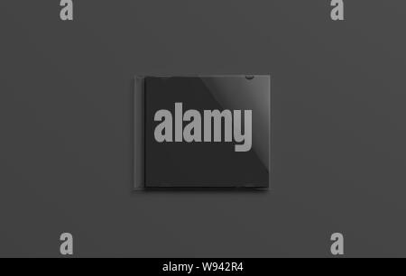 Blank black closed disk cover mockup, isolated on dark background, 3d rendering. Empty dvd packaging mock up, top view. Clear compact case for audio or video on darkness template. - Stock Photo