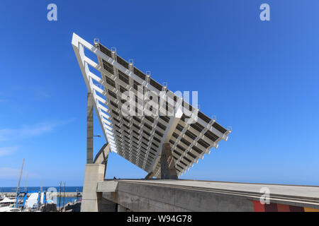 Giant solar panel power cell installation in the Forum area of the Olympic Harbour, Barcelona, Spain - Stock Photo
