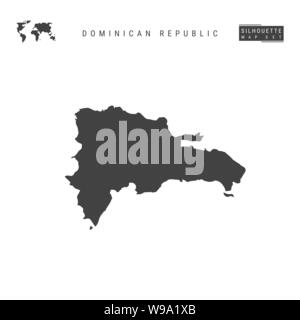 Dominican Republic Blank Vector Map Isolated on White Background. High-Detailed Black Silhouette Map of Dominican Republic. - Stock Photo
