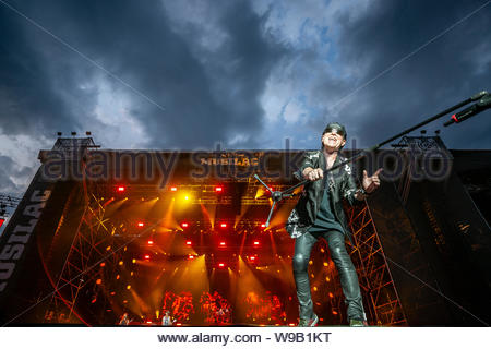 Scorpions : Klaus Meine (lead vocals) performing live at Musilac summer festival in Aix-les-Bains (France) in 2019 - Stock Photo