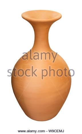 clay jug handmade isolated on white background - Stock Photo