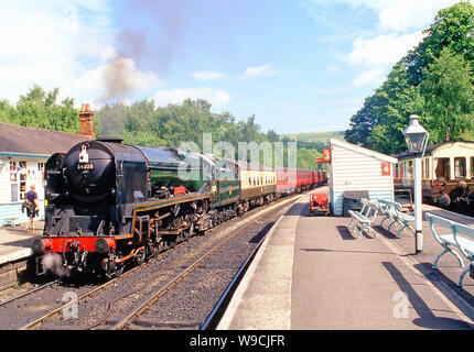 West Country Class Pacific No 34028 Eddystone at Grosmont, North Yorkshire Moors Railway, England - Stock Photo