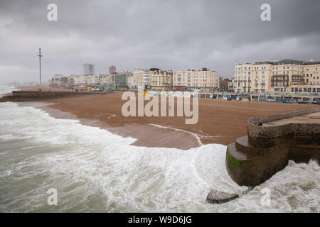 stormy weather on brighton sea front - Stock Photo