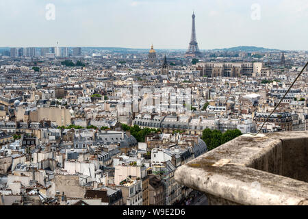Aerial view looking west towards Eiffel Tower from viewing platform on South Tower of Notre-Dame Cathedral, Ile de la Cité, Paris, France - Stock Photo