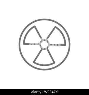 Vector radiation sign, radioactive warning line icon. - Stock Photo