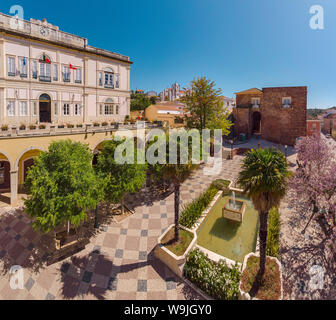 Town hall square with trees in bloom, Silves,   , Algarve, Portugal, 30071482 *** Local Caption *** city, village, flowers,  trees, spring, aerial pho - Stock Photo