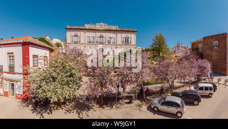 Town hall square with trees in bloom, Silves,   , Algarve, Portugal, 30071481 *** Local Caption *** city, village, flowers,  trees, spring, aerial pho - Stock Photo
