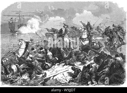 [ 1860s Japan - Mongol Invasions of 1274 and 1281 ] —   Samurai fighting the Mongols. In 1274 and 1281, Mongolian emperor Kublai Khan tried to conquer the Japanese islands twice, but failed.  Published in the French publication Le Tour du Monde, in 1866 (Keio 2). The illustration accompanied an article about Japan by Swiss diplomat M. Aimé Humbert who lived in Japan in 1863-1864.  19th century vintage newspaper illustration. - Stock Photo