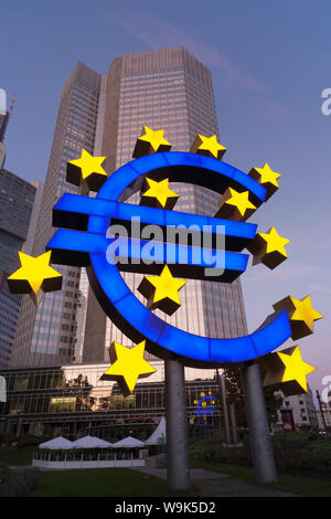 Euro symbol in front of the European Central Bank, Frankfurt, Hesse, Germany, Europe - Stock Photo