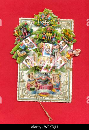 Mechanical Christmas card open circa 1875 - Stock Photo