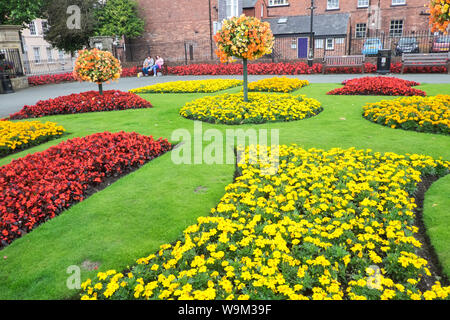 Colourful,colorful,floral,display,plants,flowers,at,Cae Glas Park,Oswestry,a,market,town,in,Shropshire,border,of, Wales,England,GB,UK, - Stock Photo