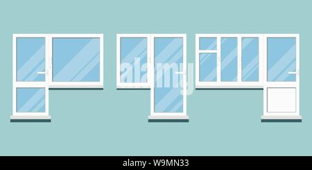 Set of isolated white plastic pvc different balcony door and block with room windows with handle, glare on glass - Stock Photo