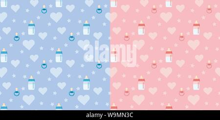 Set of cute vector seamless pattern with baby bottle, pacifier, heart placed horizontally - Stock Photo