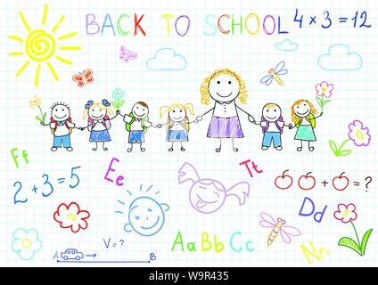 Back to school. Vector sketches with happy pupils and teacher. Sketch on notebook page - Stock Photo