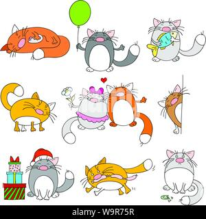 Collection of nine cute funny cats - Stock Photo
