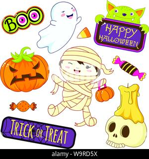 Set of cute Halloween characters and ornaments - boy in mummy costume, ghost, candy, candle on skull, pumpkin, monster, sticker with inscription trick - Stock Photo