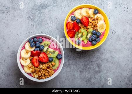 Healthy acai smoothie bowl - Stock Photo