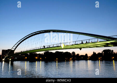 A view of the three countries bridge which links the towns of Huningue in France with the German town of Weil-Am-Rhein - Stock Photo