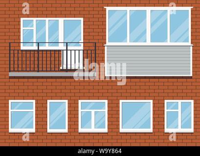 Set of closed plastic pvc windows and a balcony vector illustration. - Stock Photo