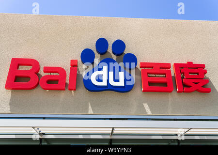 August 7, 2019 Sunnyvale / CA / USA - Close up of Baidu logo at their headquarters located in Silicon Valley; Baidu, Inc. is a Chinese multinational t - Stock Photo