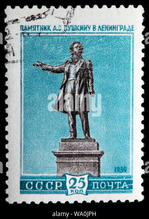 Sculptural monument to Alexander Pushkin, Russian poet, Saint Petersburg, postage stamp, Russia, USSR, 1959 - Stock Photo
