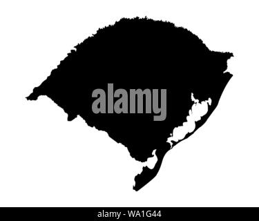 Rio Grande do Sul State silhouette map isolated on white background, Brazil - Stock Photo
