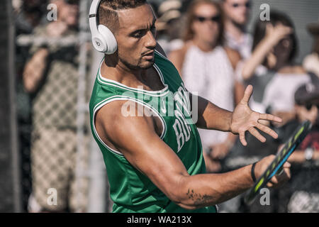 Montreal - AUGUST 5. Nick Kyrgios, professional tennis player hitting brilliant forehand during practice at ATP Tour Masters 1000 tournament, Canada Open aka Rogers Cup in Montreal August 5 2019. - Stock Photo