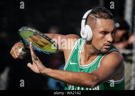 Montreal - AUGUST 5. Nick Kyrgios, professional tennis player and genius at training during ATP Tour Masters 1000 tournament, Canada Open aka Rogers Cup in Montreal August 5 2019. - Stock Photo