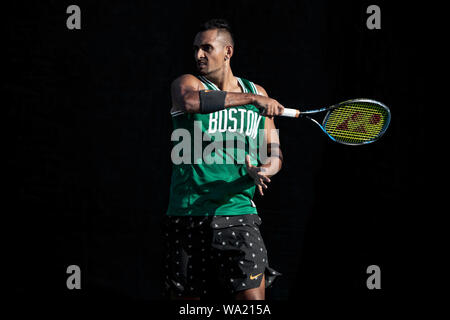 Montreal - AUGUST 5. Nick Kyrgios, professional tennis player hitting awesome forehand during practice at ATP Tour Masters 1000 tournament, Canada Open aka Rogers Cup in Montreal August 5 2019. - Stock Photo