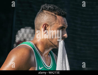 Montreal - AUGUST 5. Nick Kyrgios, professional tennis player portrait during practice at ATP Tour Masters 1000 tournament, Canada Open aka Rogers Cup in Montreal August 5 2019. - Stock Photo