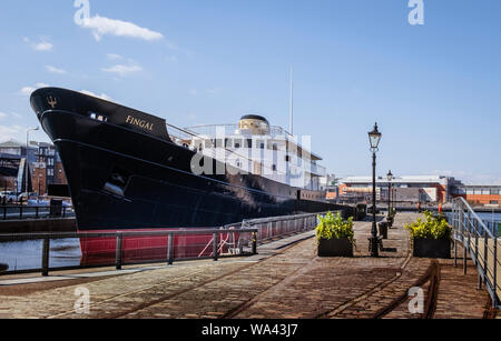 MV Fingal a luxury floating hotel berthed at Leith Docks Edinburgh - Stock Photo