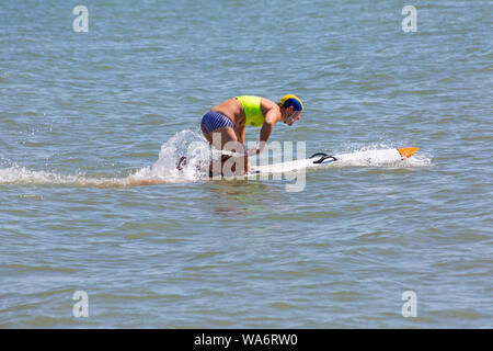 Branksome Chine, Poole, Dorset UK. 18th Aug 2019. GB Surf Life Saving National Championships take place at Branksome Chine beach. Branksome Chine Life Saving Club host the event, the first time ever a club outside of Devon and Cornwall have been invited to host the entire event. Credit: Carolyn Jenkins/Alamy Live News - Stock Photo