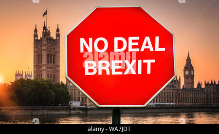No Deal Brexit digital composite with Houses of Parliament, London in background. UK is set to leave the EU by default on October 31st, 2019 leading t - Stock Photo