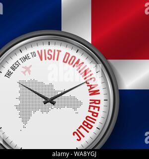 The Best Time to Visit Dominican Republic. Travel to Dominican Republic. Tourist Air Flight. Waving Flag Background and Dots Pattern Map on the Dial. - Stock Photo