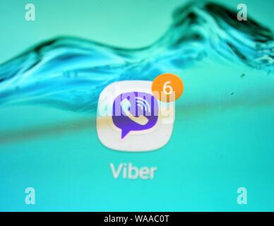 viber logo on a smartphone display - Stock Photo
