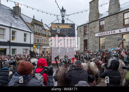 The 2019 proclamation for the Up Helly Aa festival in the Market Cross in Lerwick, Shetland - Stock Photo