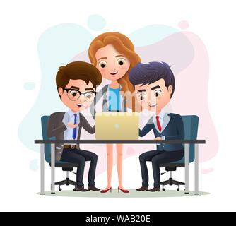 Business characters teamwork employees vector concept. Business character manager and employee meeting discussion in the office. Vector illustration. - Stock Photo