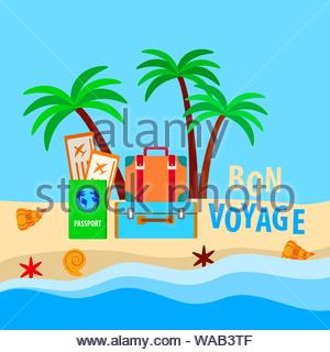 concept with suitcases and passport with tickets for travel, vacation on a sandy sea beach with palm trees and shells - Stock Photo