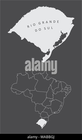 Rio Grande do Sul State silhouette map and its location in Brazil - Stock Photo