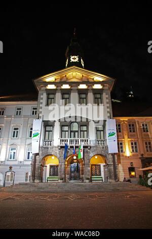 Night in the center of Ljubljana , Slovenia - Stock Photo