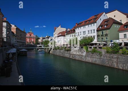 The river in Ljubljana, Slovenia - Stock Photo