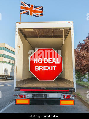 No Deal Brexit digital composite sign inside an empty container truck. UK is set to leave the EU by default on October 31st, 2019 - Stock Photo