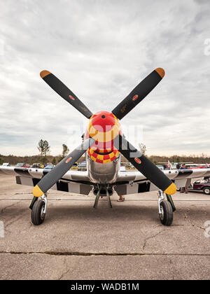 Parked vintage American P 51 Mustang fighter airplane, the Ain't Misbehaven, from WWII era in Bessemer Alabama, USA. - Stock Photo