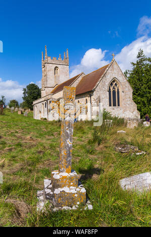 Imber Church, St Giles Church, on open day for visitors to see the deserted ghost village of Imber on Salisbury Plain, Wiltshire UK in August - Stock Photo