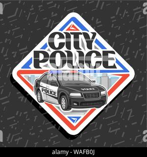 Vector logo for City Police, white decorative label with illustration of modern sedan of municipal road department, original typography for words city - Stock Photo