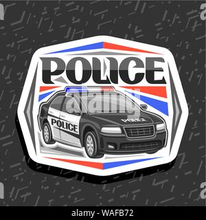 Vector logo for Police Car, white decorative sign with illustration of modern sedan of municipal road department, original lettering for word police, - Stock Photo
