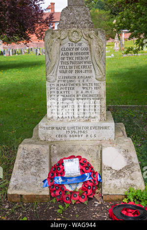 Tilshead War Memorial in churchyard of St Thomas a Becket church at Tilshead, near Salisbury, Wiltshire UK in August - Stock Photo
