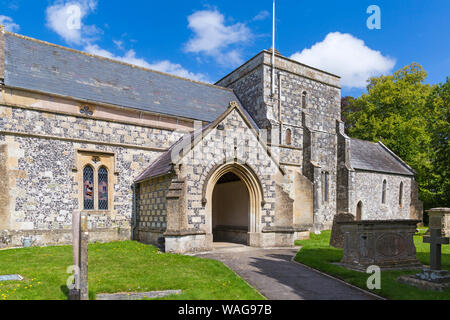 St Thomas a Becket church at Tilshead, near Salisbury, Wiltshire UK on a warm sunny day in August - Stock Photo